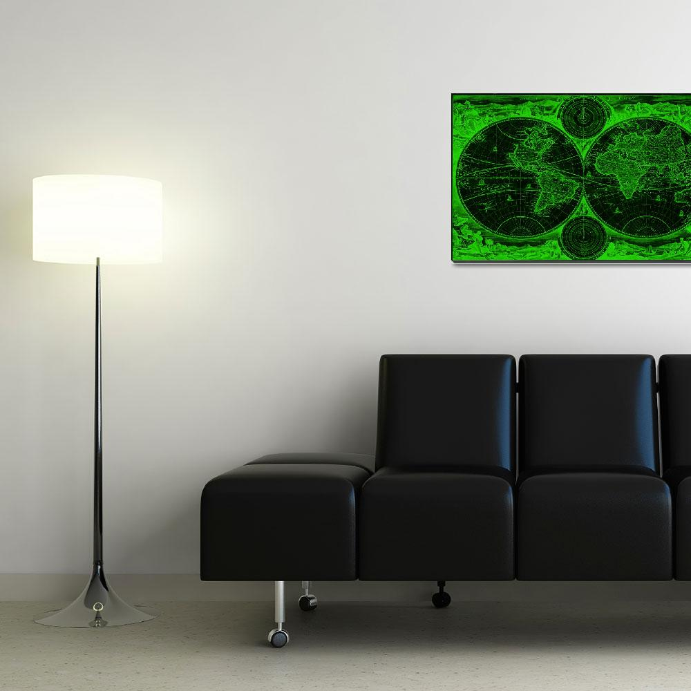 """""""World Map (1730) Black & Green&quot  by Alleycatshirts"""