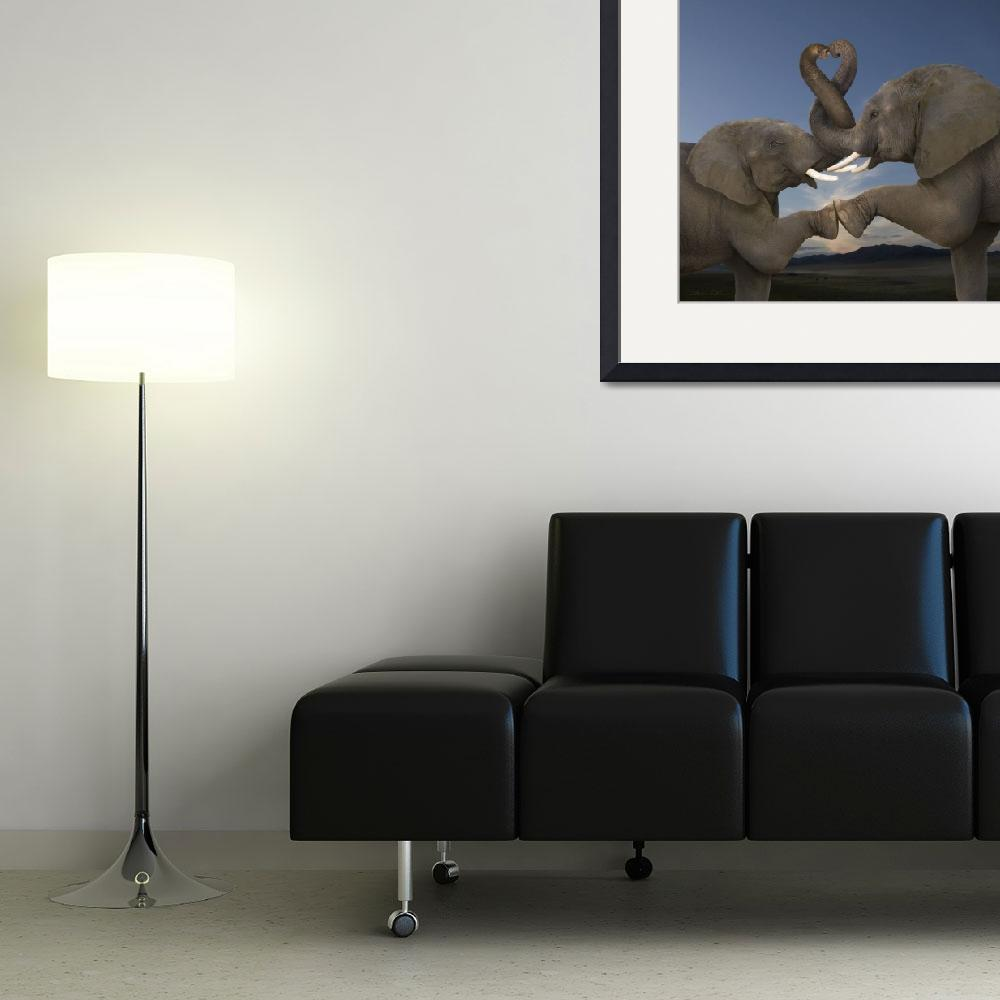 """""""Romantic elephants, trunks intertwined in heart&quot  (2009) by StephanieDRoeser"""