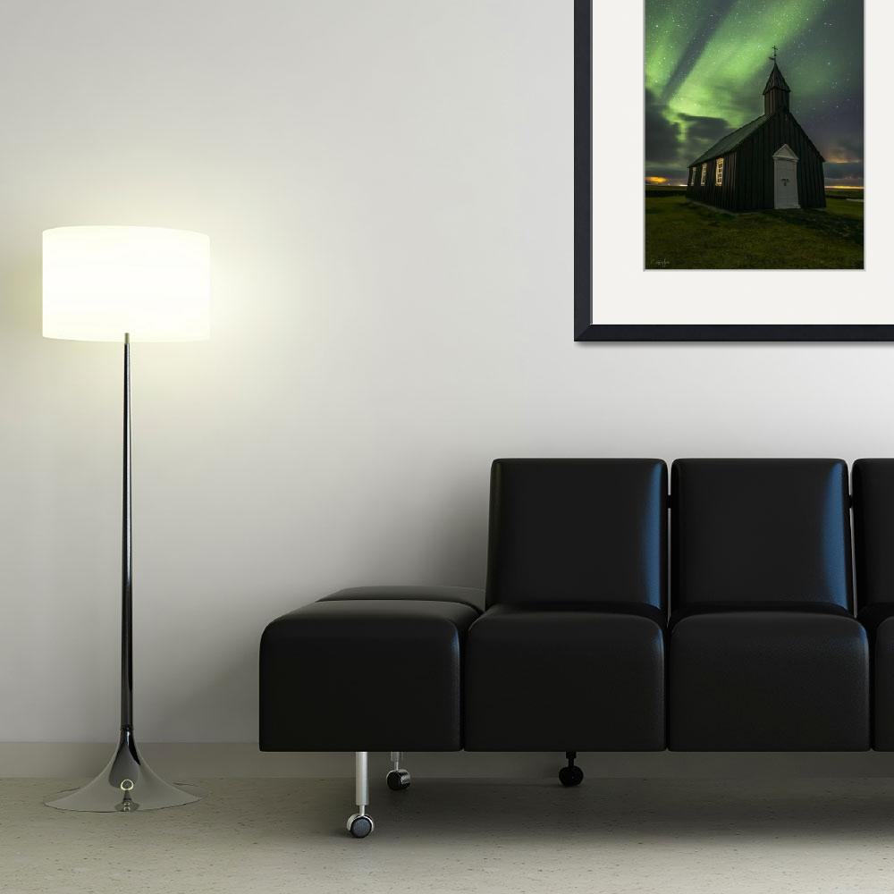 """""""Iceland Black Church with Aurora by Cody York_115A&quot  by cyorkphoto"""