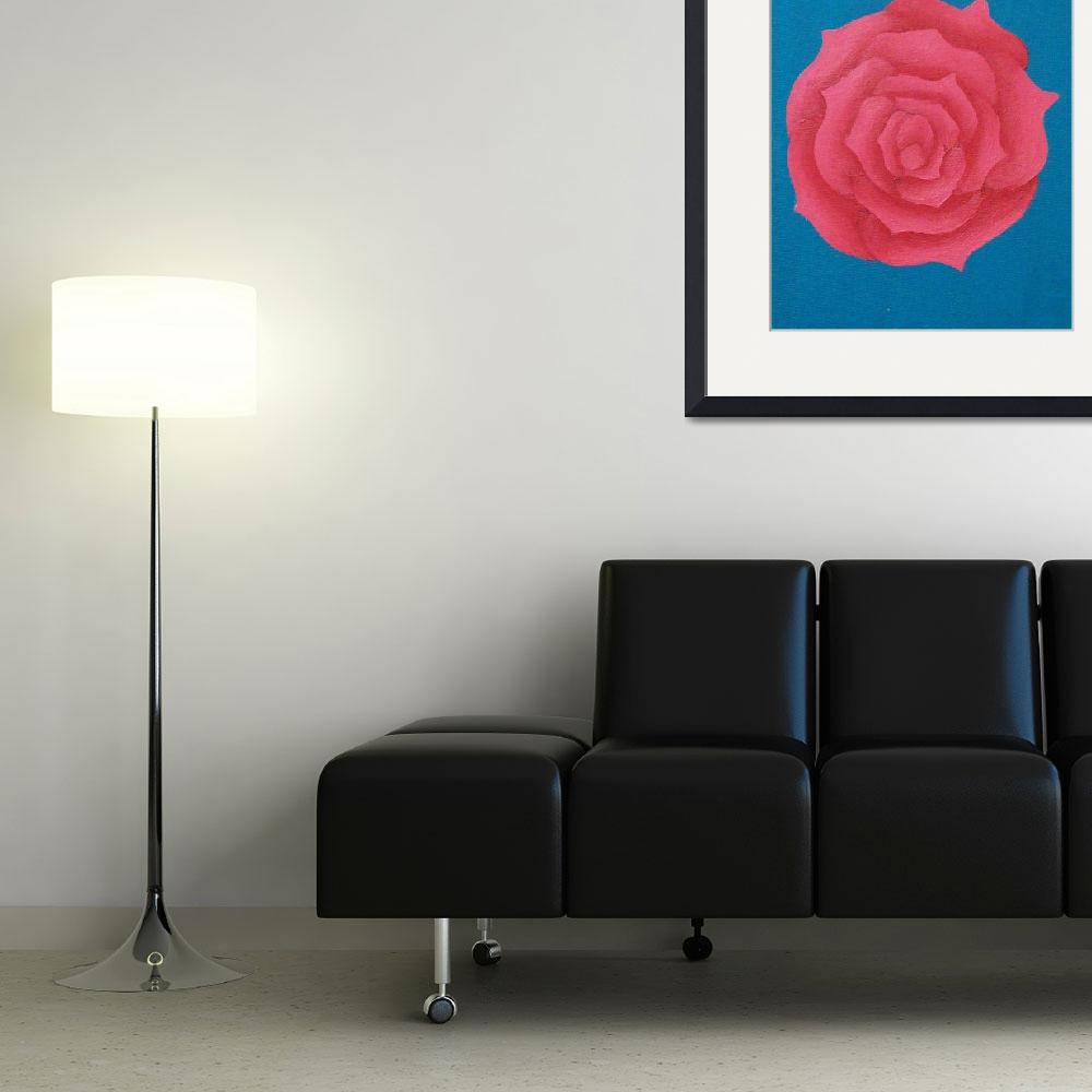 """""""red rose blue background&quot  (2010) by bbeards4"""