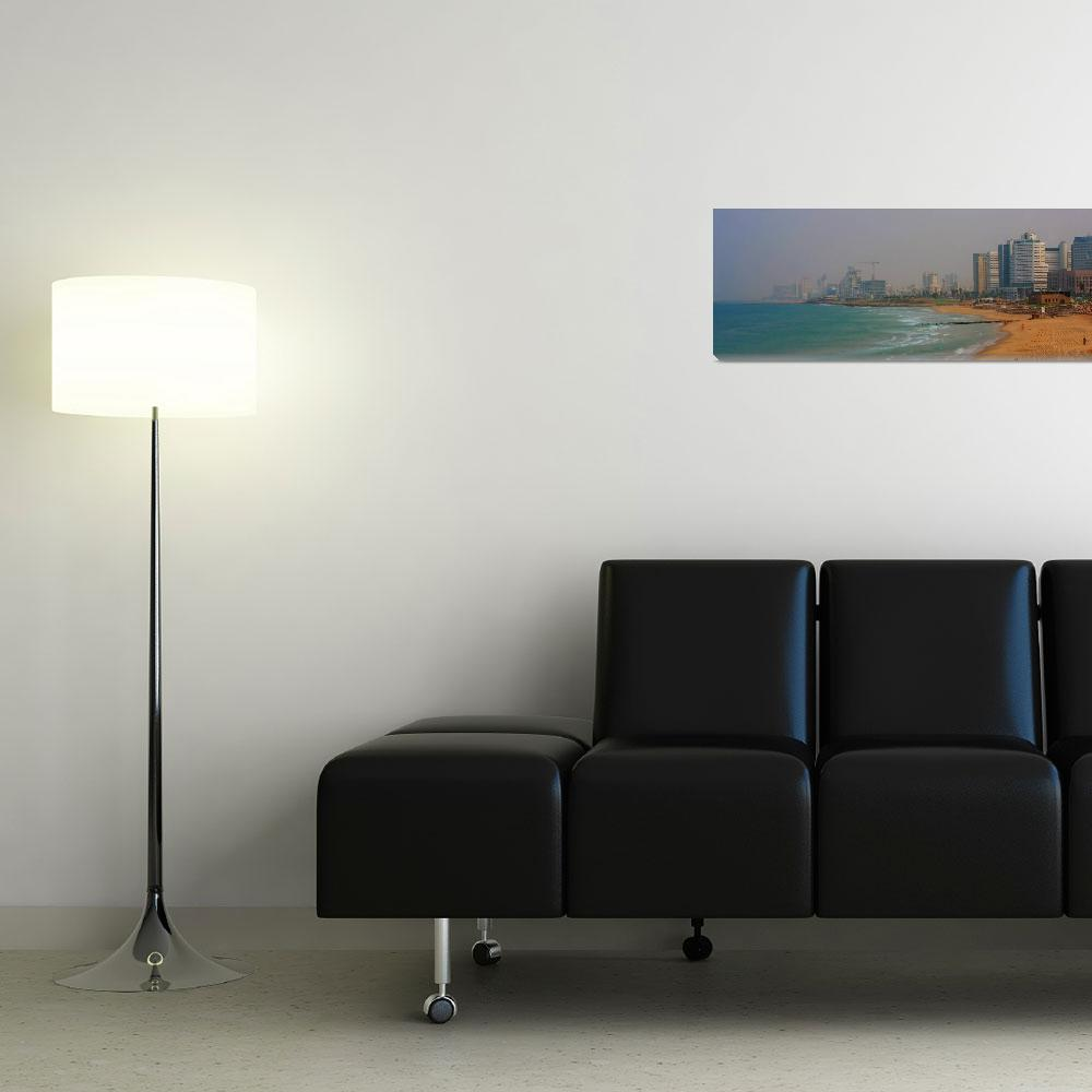 """""""Tel aviv beach from south Panorama&quot  (2009) by royporat"""