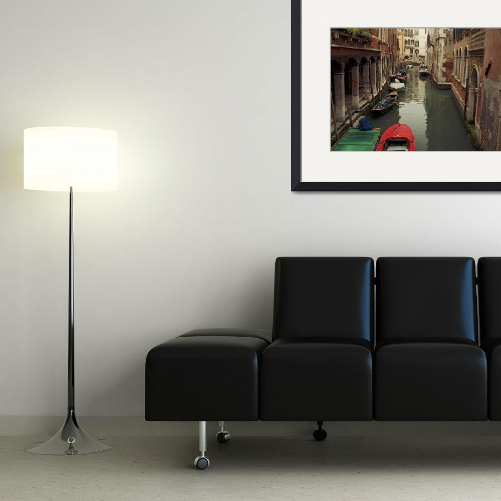 """""""Venice Canal Red Boat&quot  (2004) by Lawrence"""