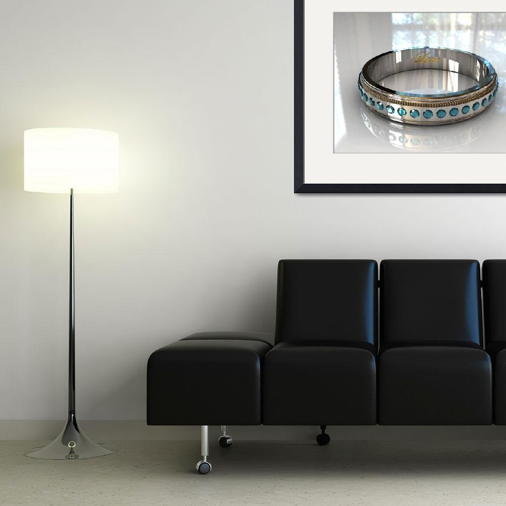 """""""Blue Topaz White Gold Wedding Ring - 3D&quot  (2009) by Modern-Impressionism"""