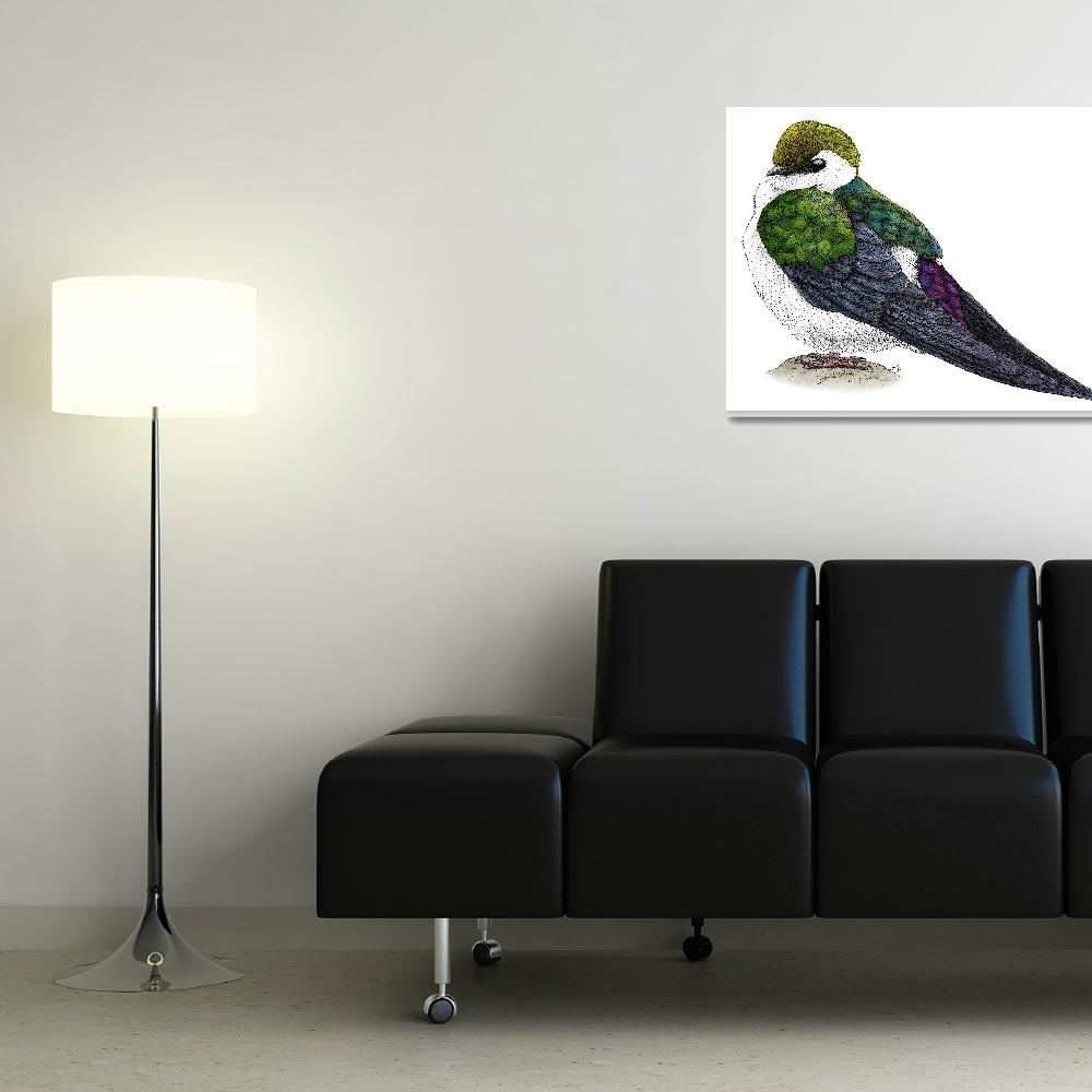 """Violet-Green Swallow&quot  by inkart"