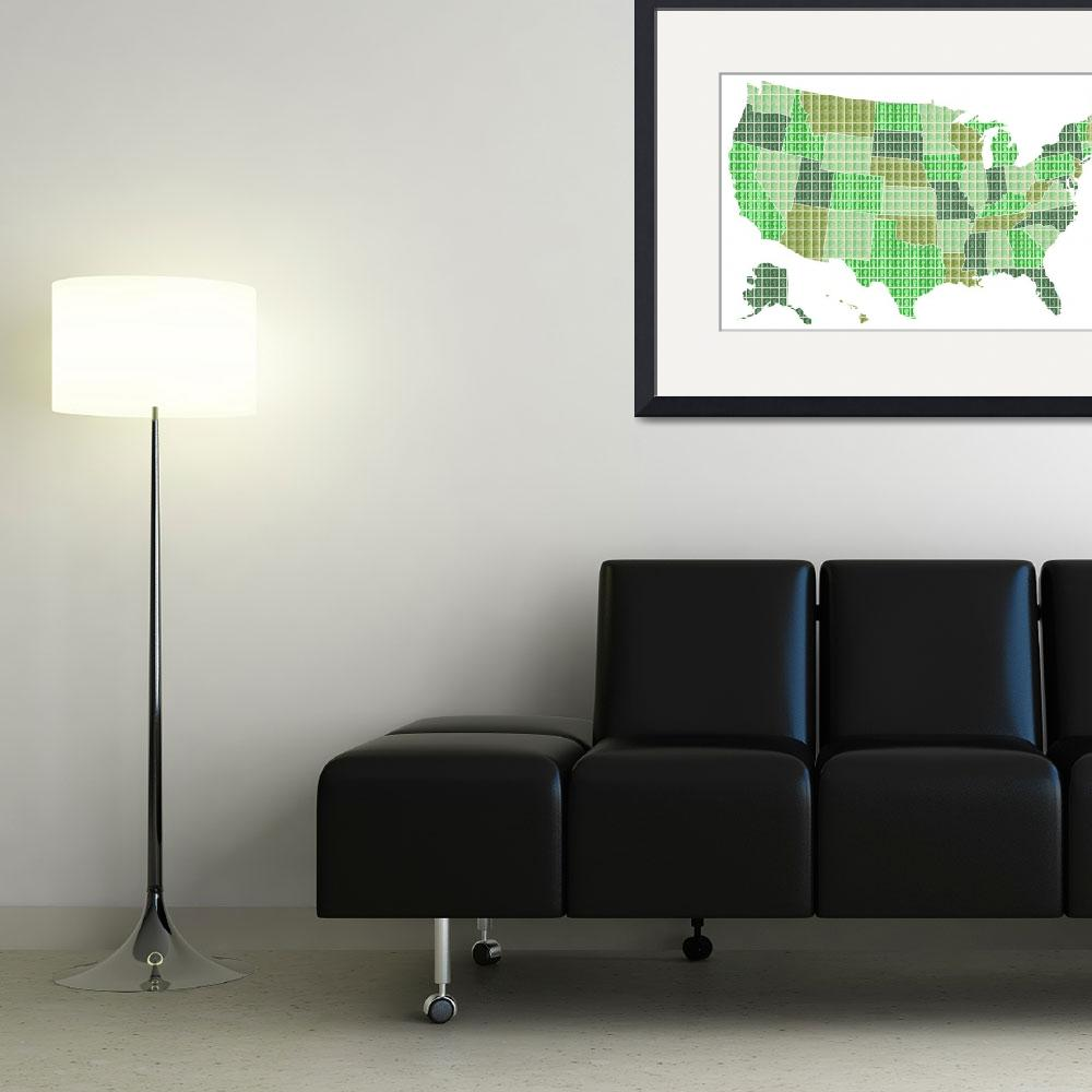 """""""United States Map - Green&quot  (2016) by garyhogben"""