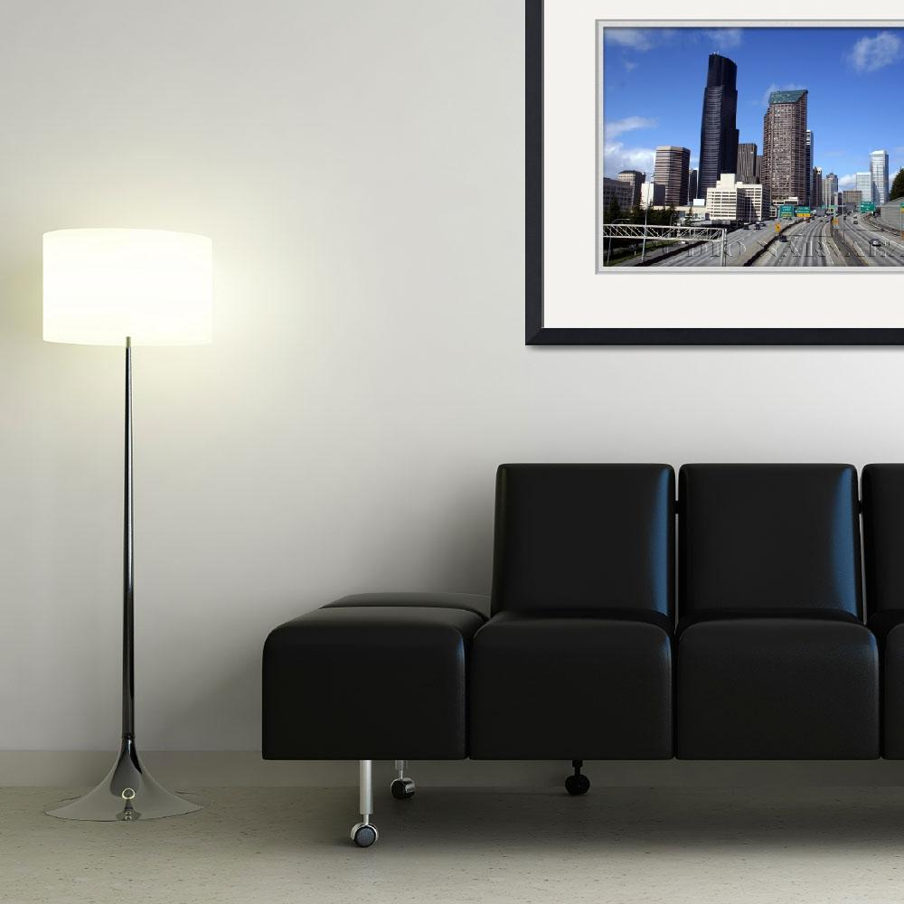 """""""Cityscape Seattle from Yesler Way Overpass""""  (2008) by studio_narvaez"""