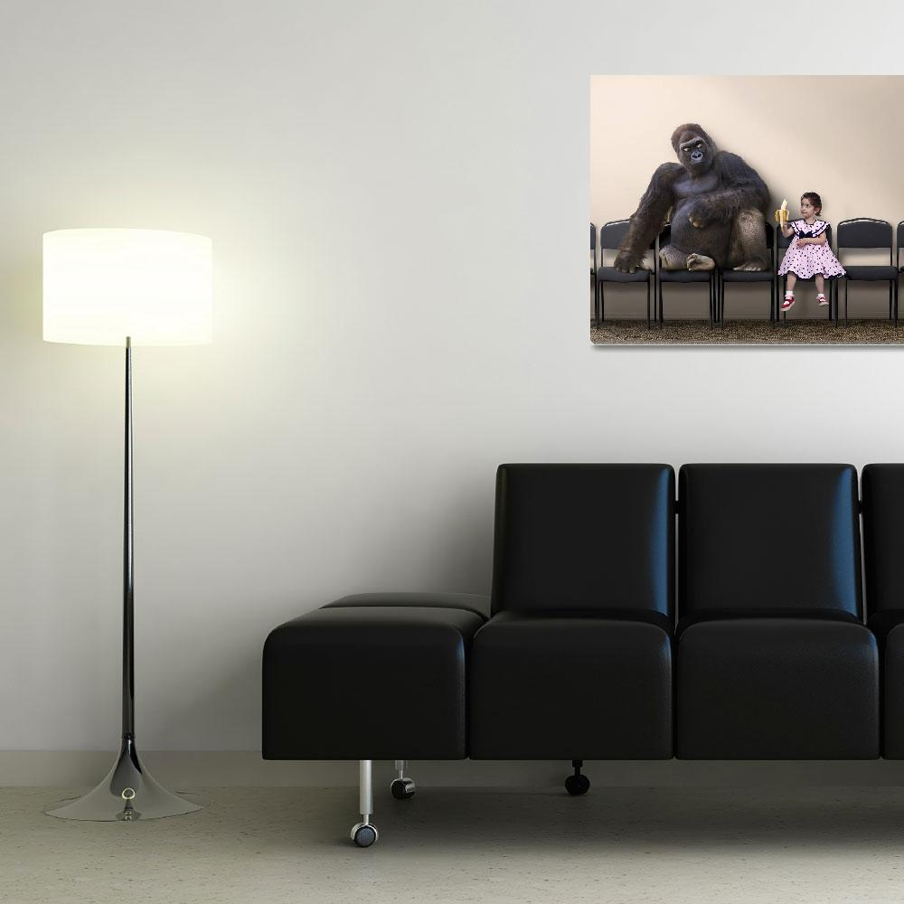 """""""Girl Offers a Bite of her Bananna to a Gorilla&quot  (2014) by StephanieDRoeser"""