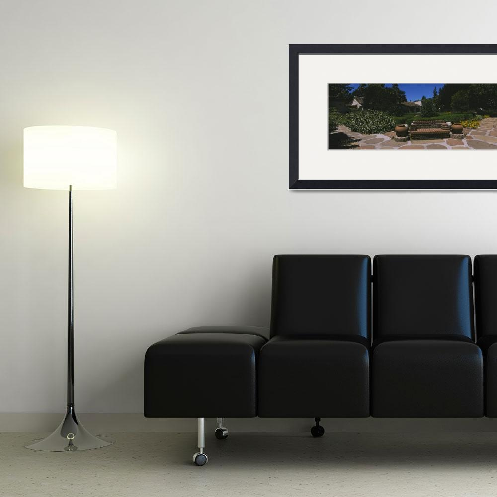 """""""Bench in a garden&quot  by Panoramic_Images"""