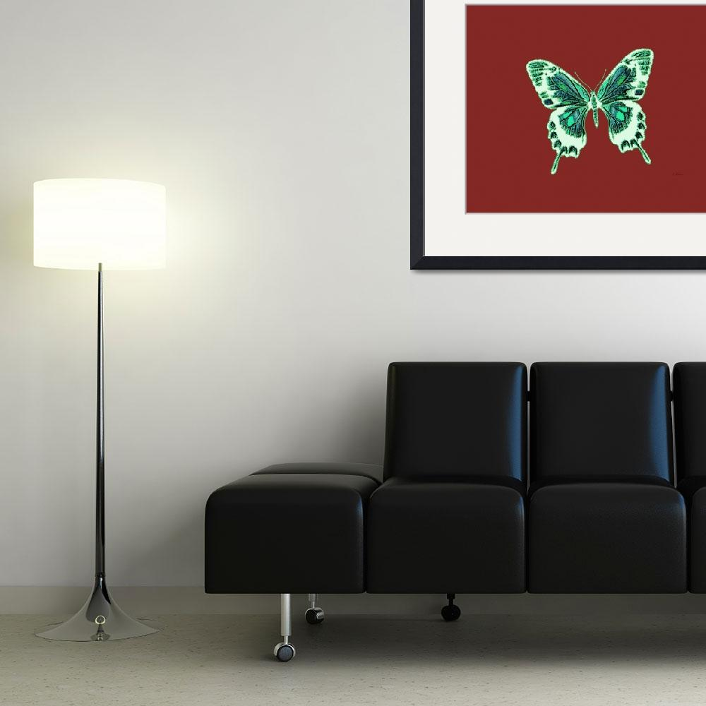 """""""Green Off White Butterfly Burnt Orange Background&quot  (2013) by TheNorthernTerritory"""