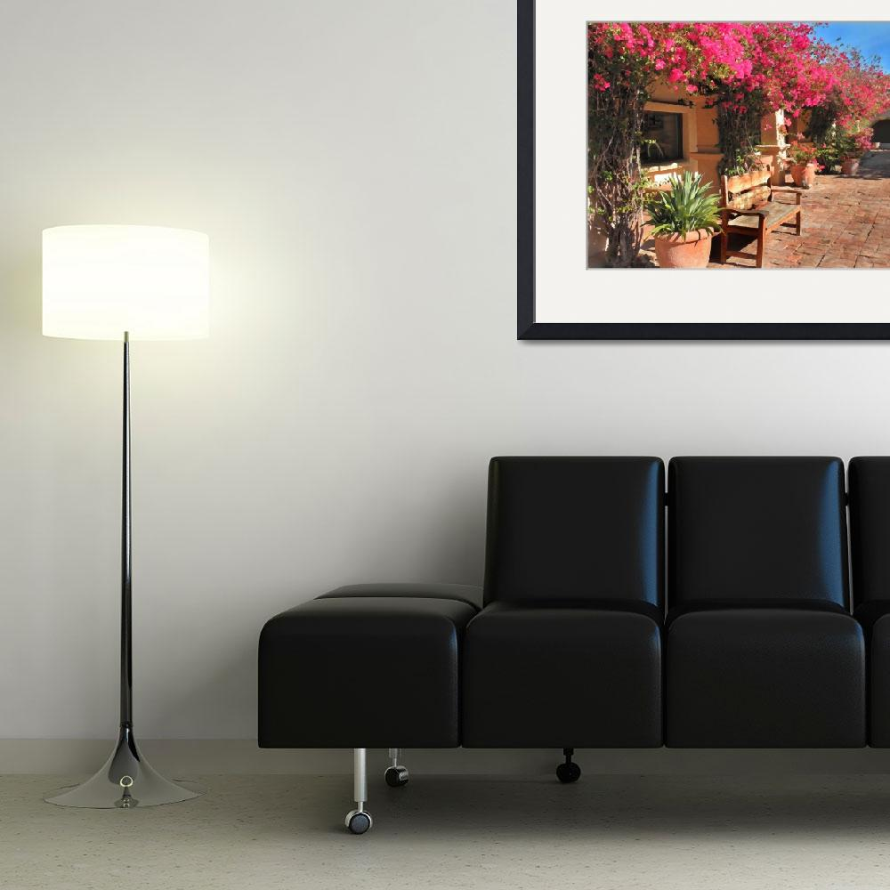 """""""Bench and Flowers&quot  (2010) by GalleryPhotoCanvas"""
