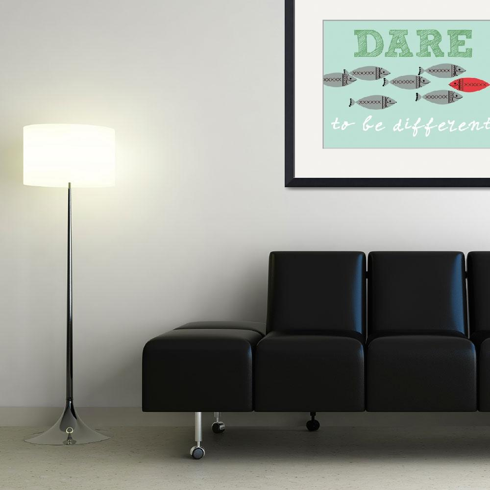 """""""Scandinavian design fish poster dare to be free&quot  (2012) by Lebonvintage"""