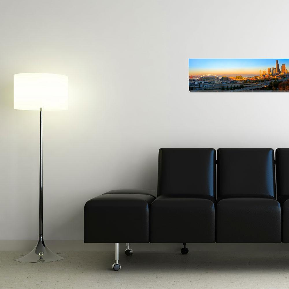 """""""Seattle Downtown Panorama""""  (2010) by Inge-Johnsson"""