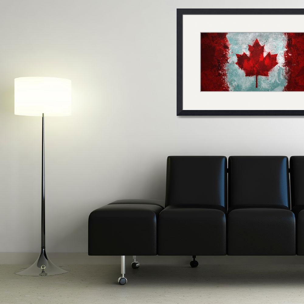"""""""Canadian Flag Grunge&quot  (2012) by GrizzlyGaz"""