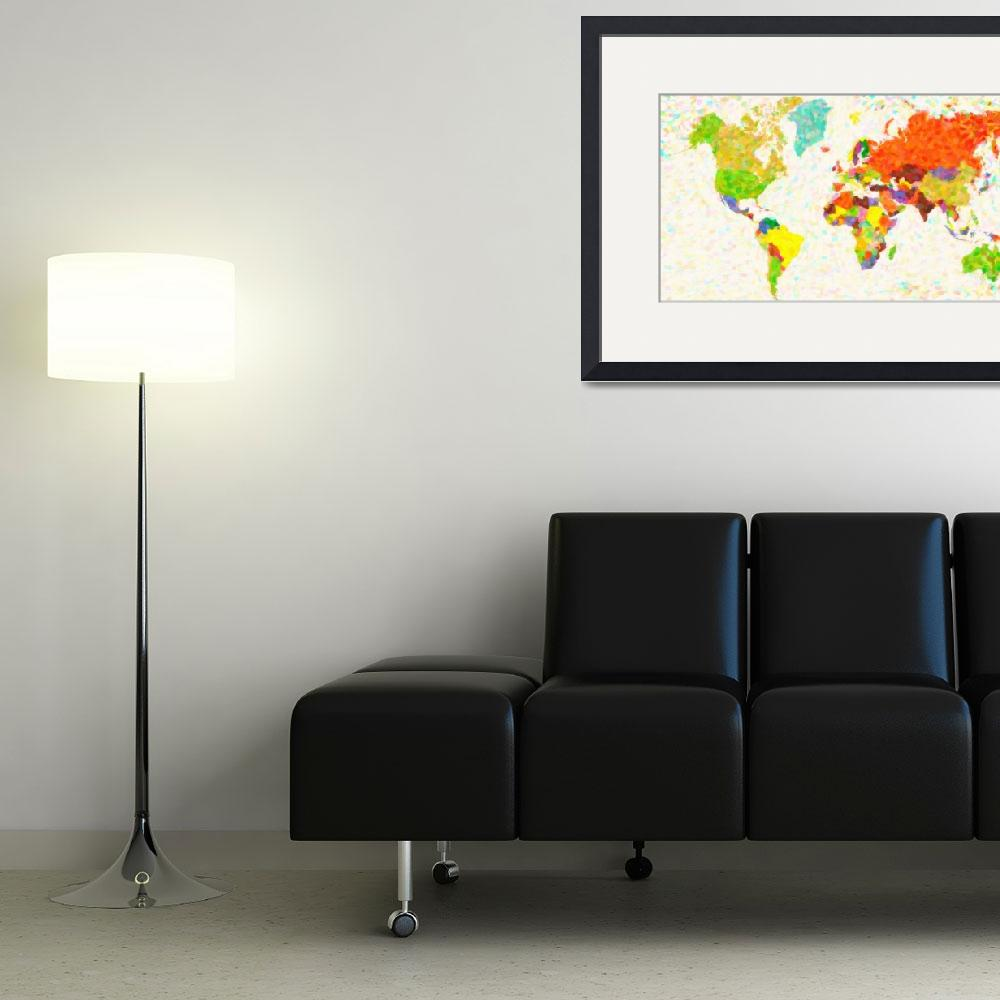 """""""maps-pointilism_World_Map&quot  by motionage"""