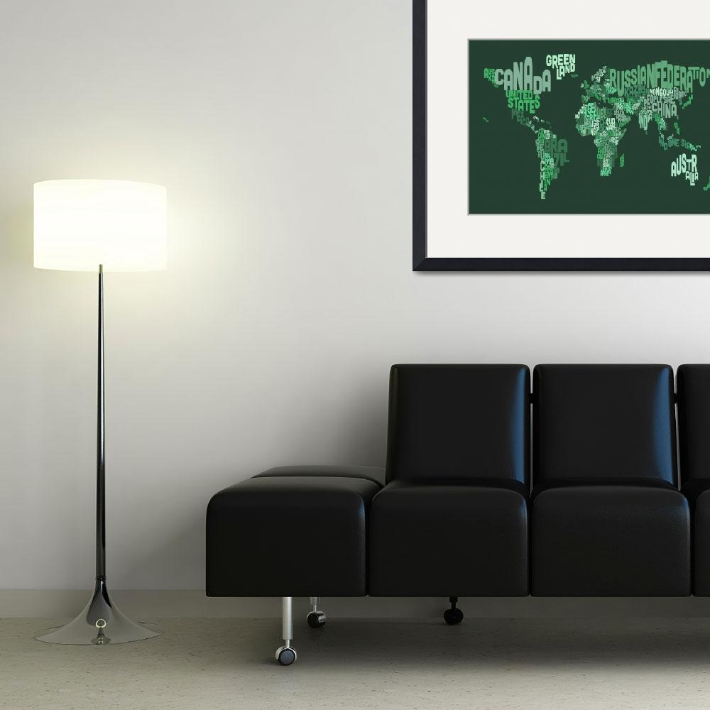 """Text Map of the World Map&quot  (2013) by ModernArtPrints"