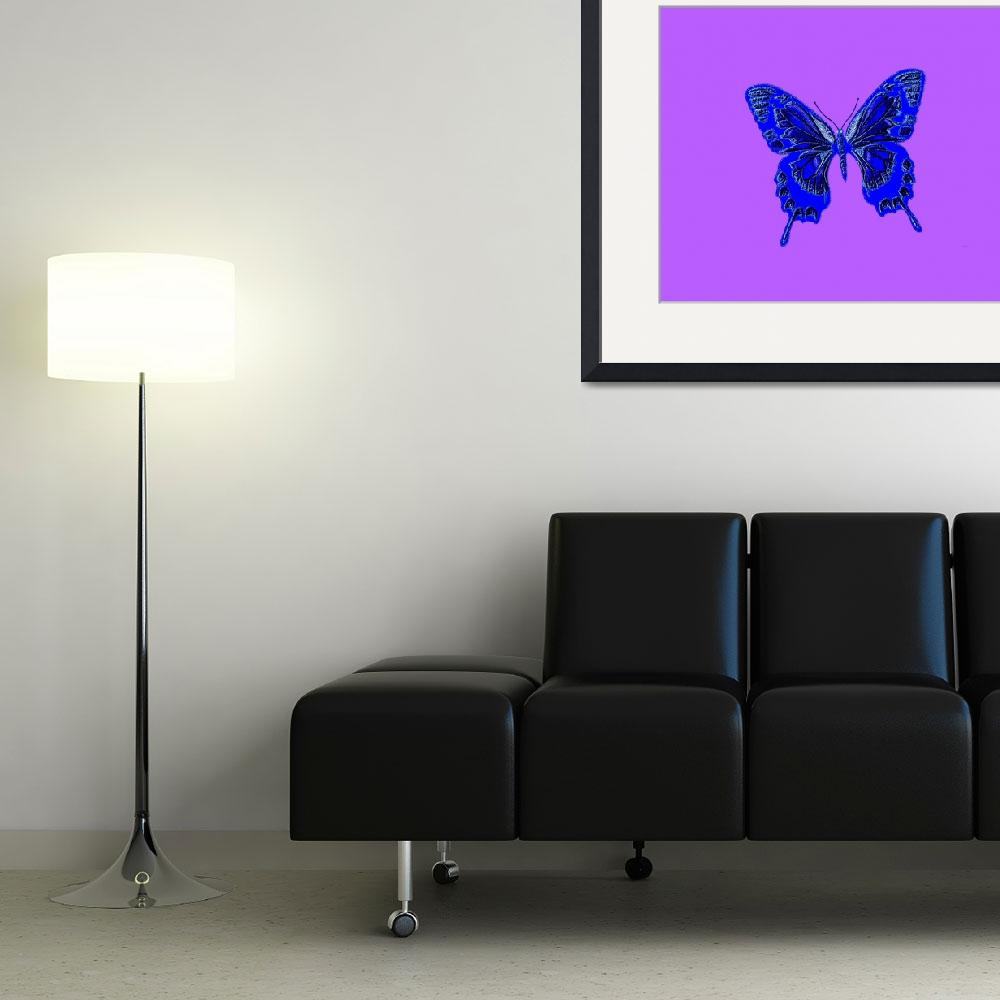 """Blue Butterfly Lavender Background&quot  (2013) by TheNorthernTerritory"