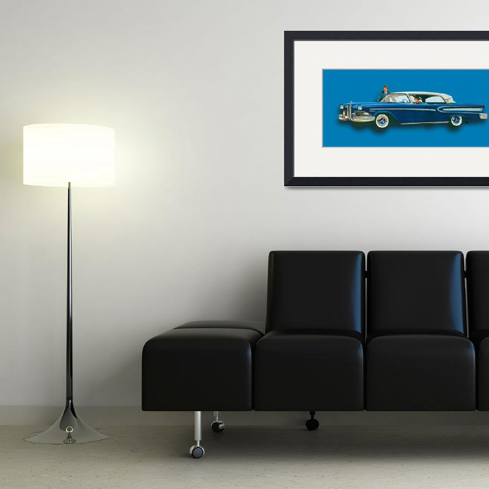 """Edsel Citation Car Advertisement Sedan Blue&quot  (2018) by RubinoFineArt"
