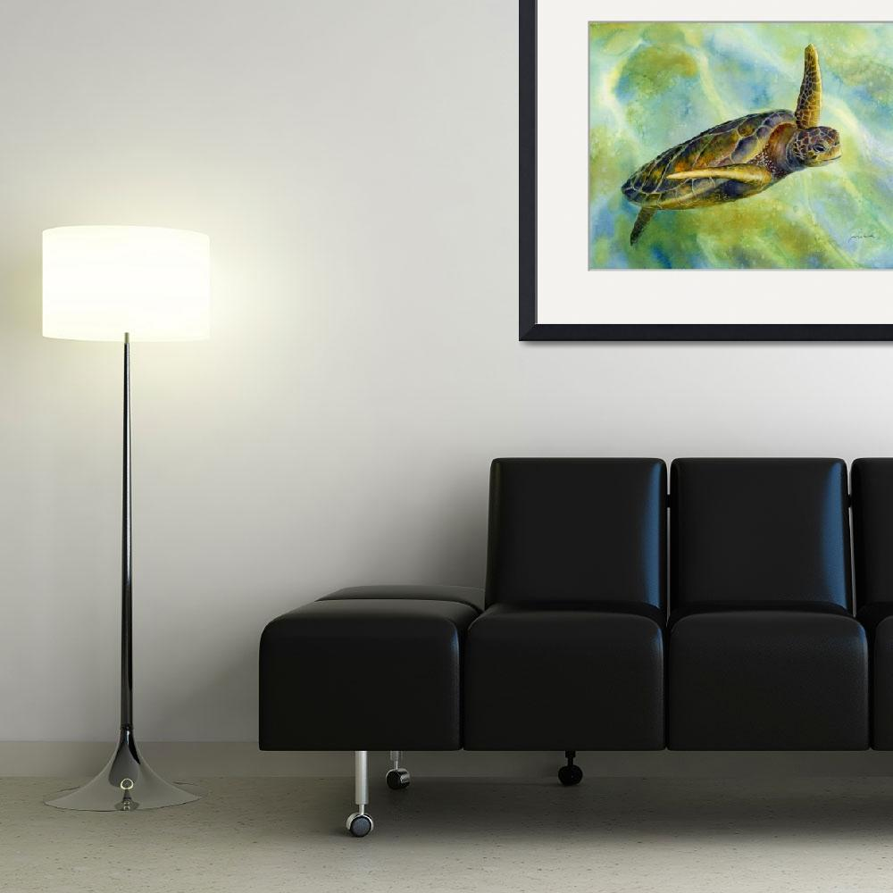 """""""Sea Turtle 2&quot  (2014) by HaileyWatermedia"""