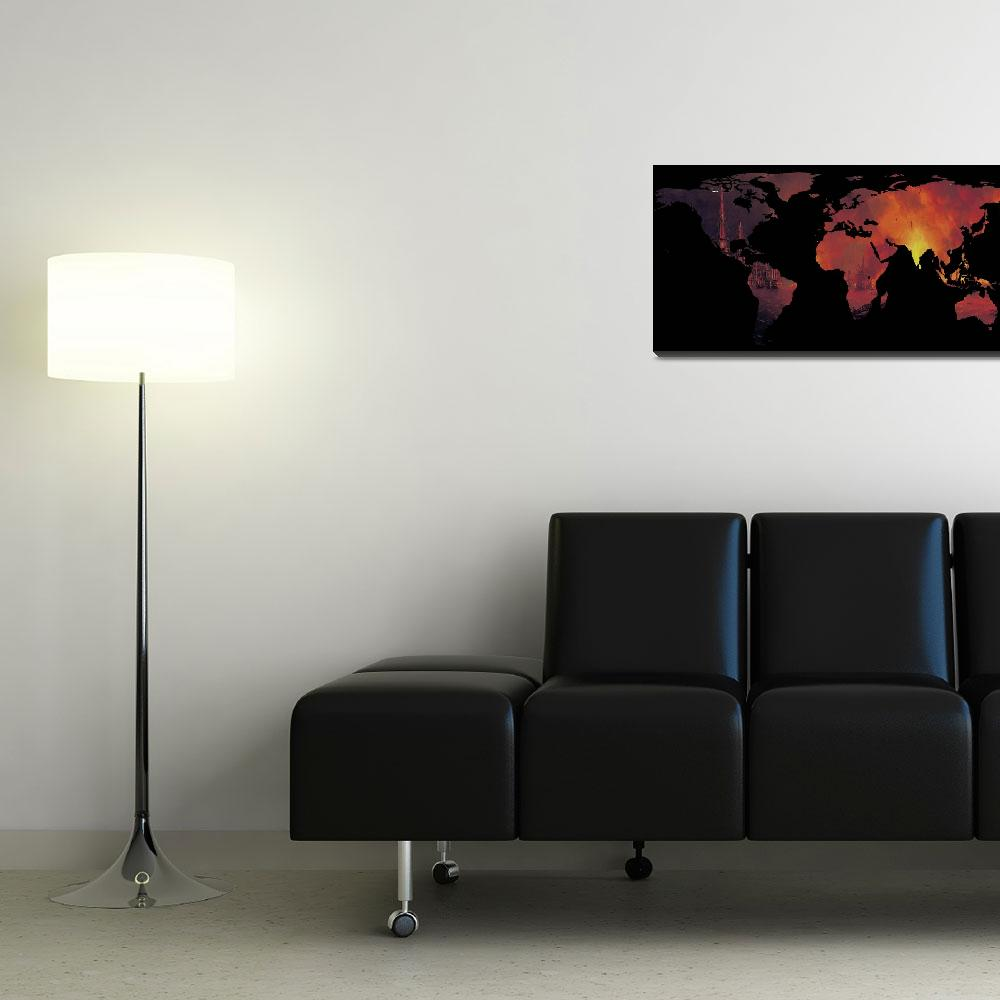 """""""World Map Silhouette - The World is On Fire&quot  by Alleycatshirts"""