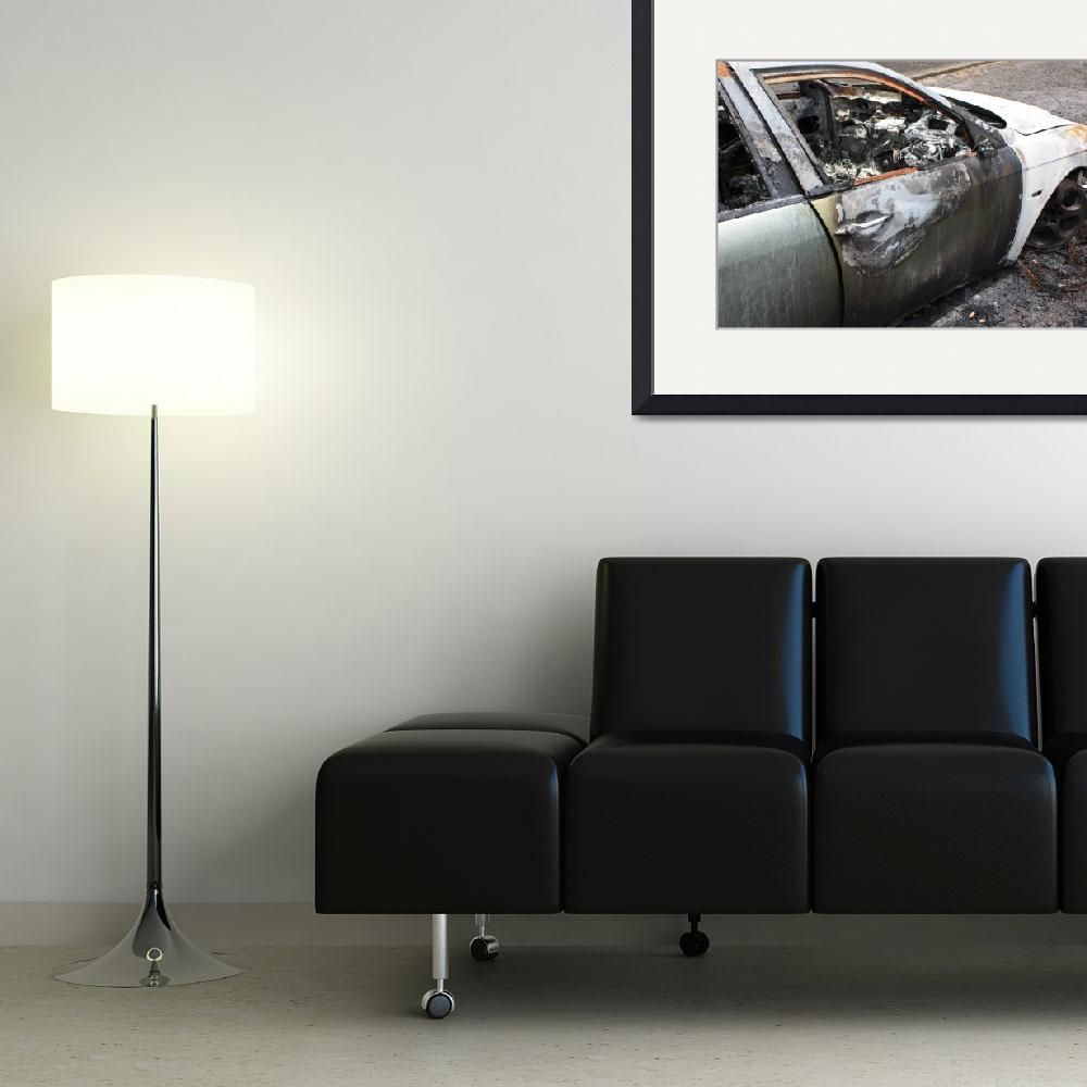 """""""Urban Art Print, Burnt out car, Digital&quot  (2013) by Blackinkphotography"""