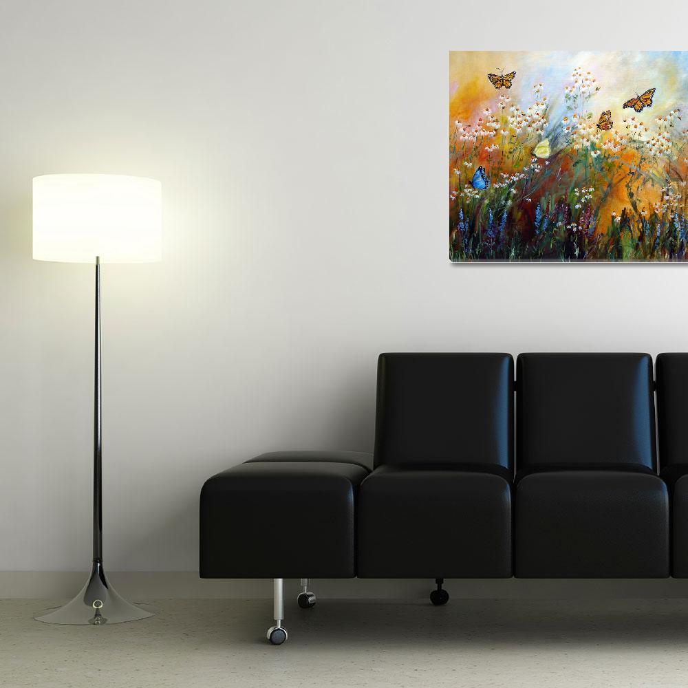 """""""Chamomile Garden Butterflies Painting&quot  (2012) by GinetteCallaway"""