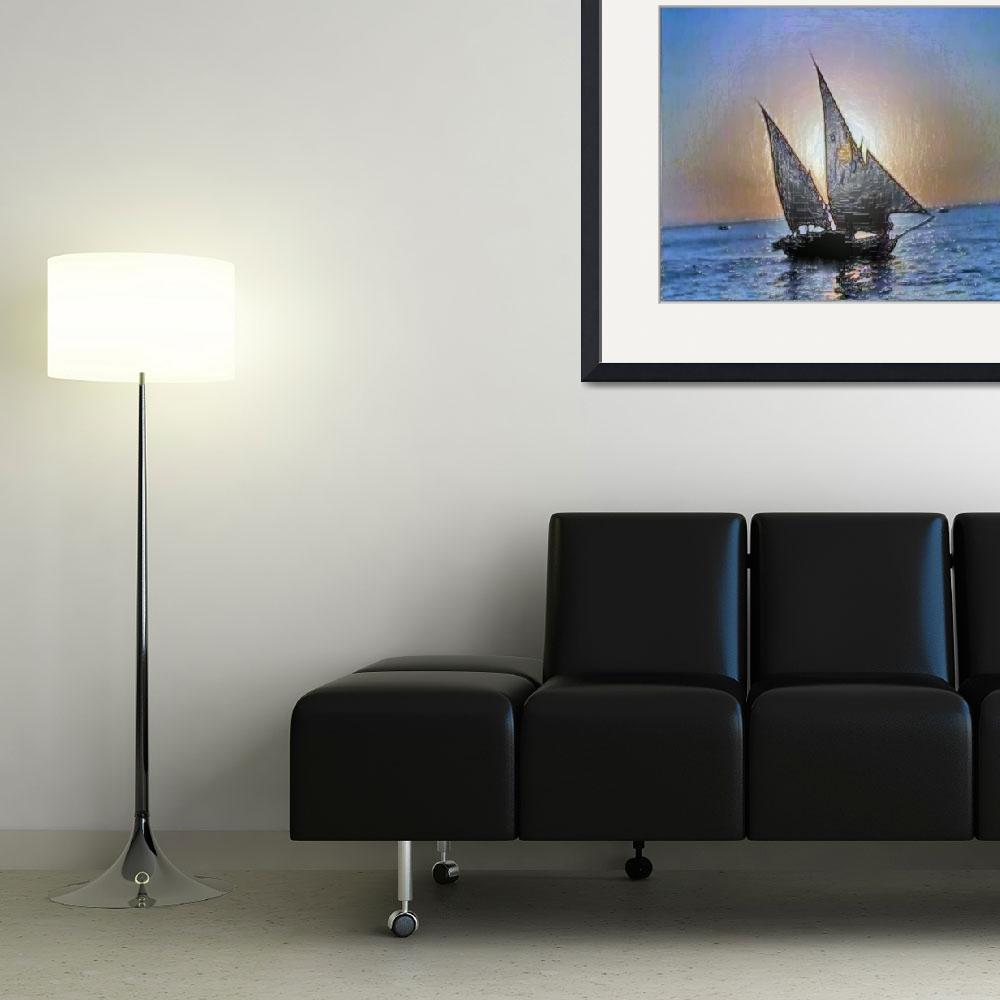 """""""Sail Boat at Sunset&quot  (2010) by Amazing"""