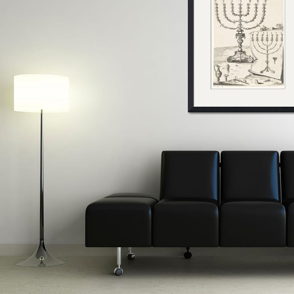 """""""Golden seven-armed candlestick or menorah, Francoi&quot  by motionage"""