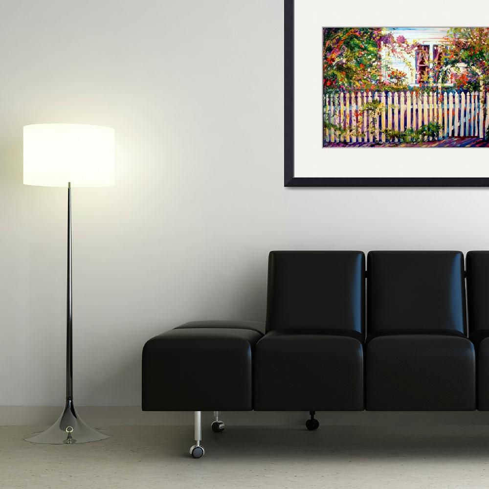 """""""A Garden with Picket Fence&quot  (2008) by MBaldwinFineArt2006"""