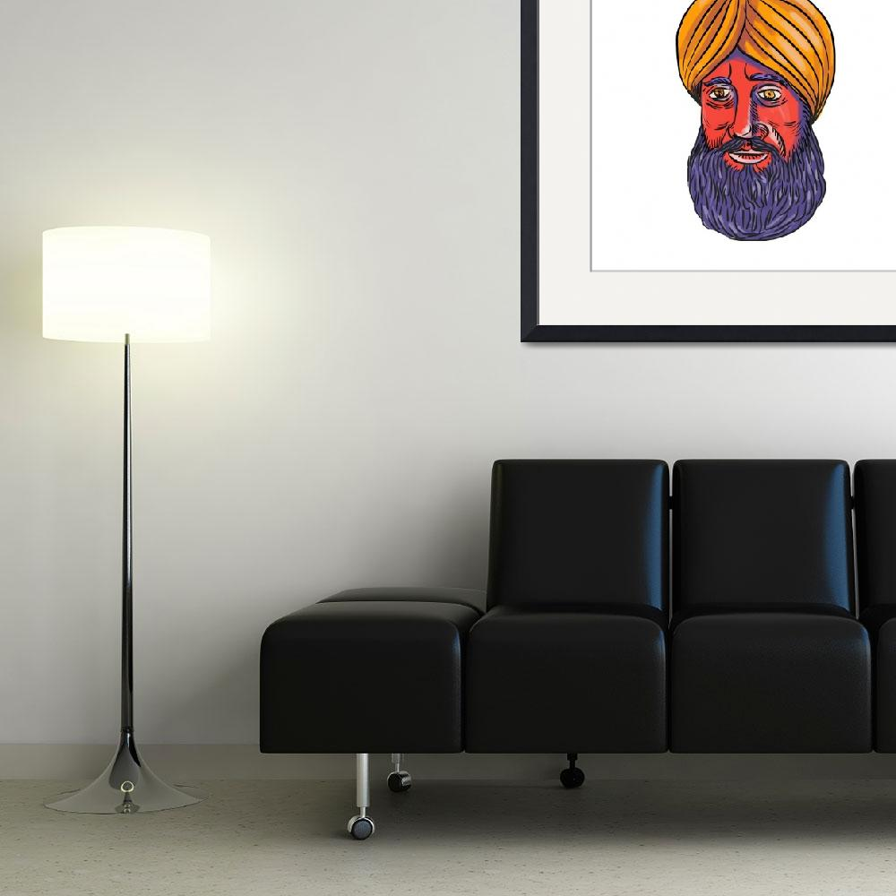 """Sikh Turban Beard Watercolor&quot  (2016) by patrimonio"