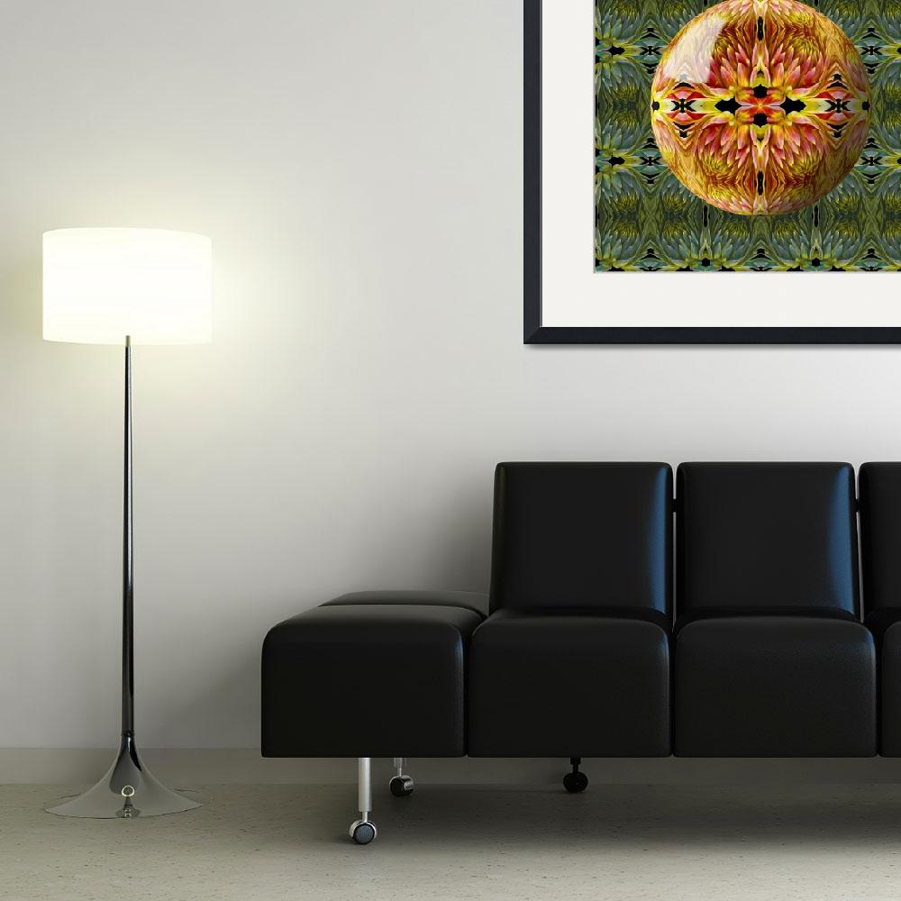 """""""Orange and Yellow Dahlia Sphere&quot  (2009) by RussMartinPhotography"""