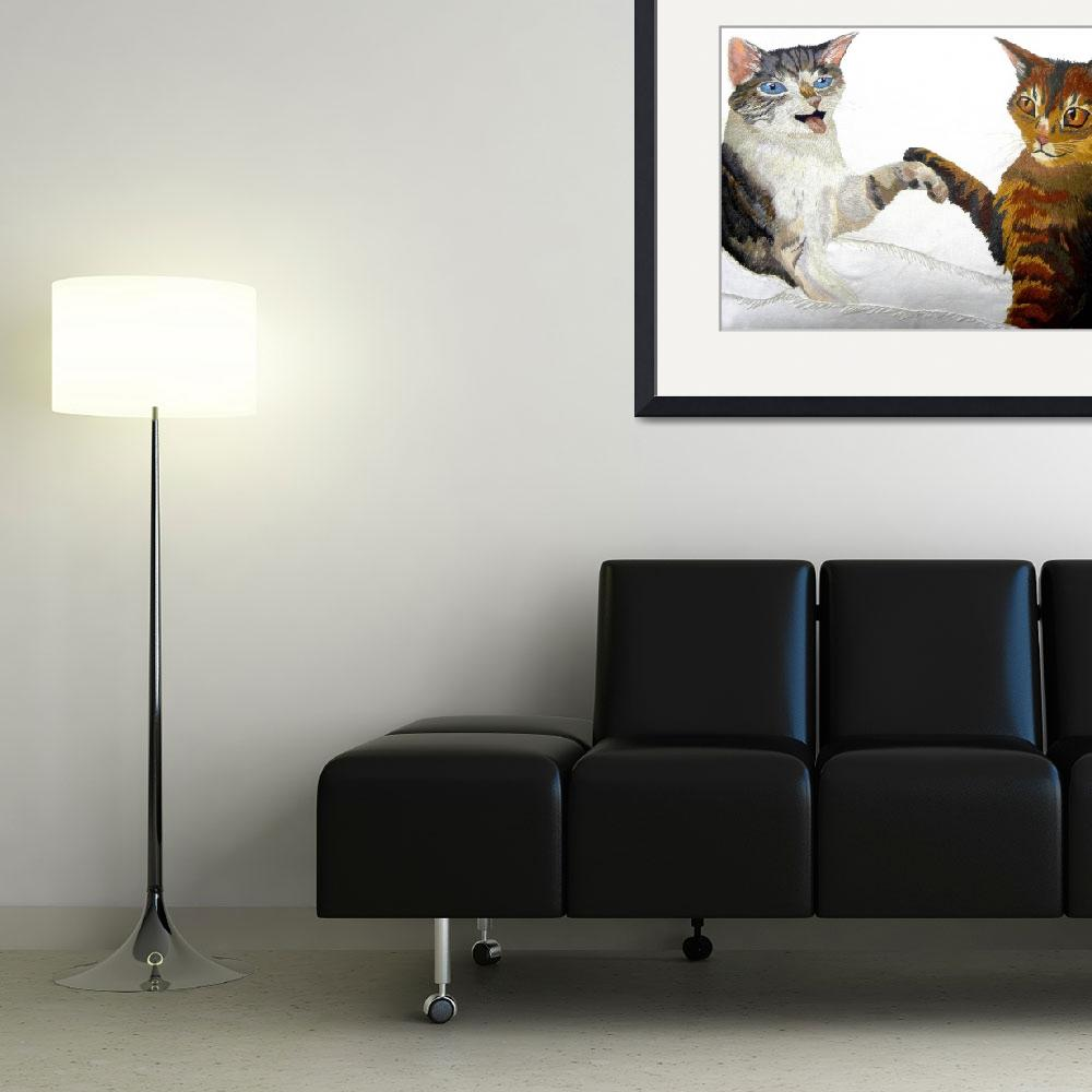 """""""cats shaking hands&quot  (2015) by TRELDesign"""