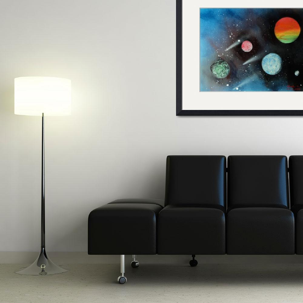 """""""Planets&quot  (2014) by lindalinsfineart"""