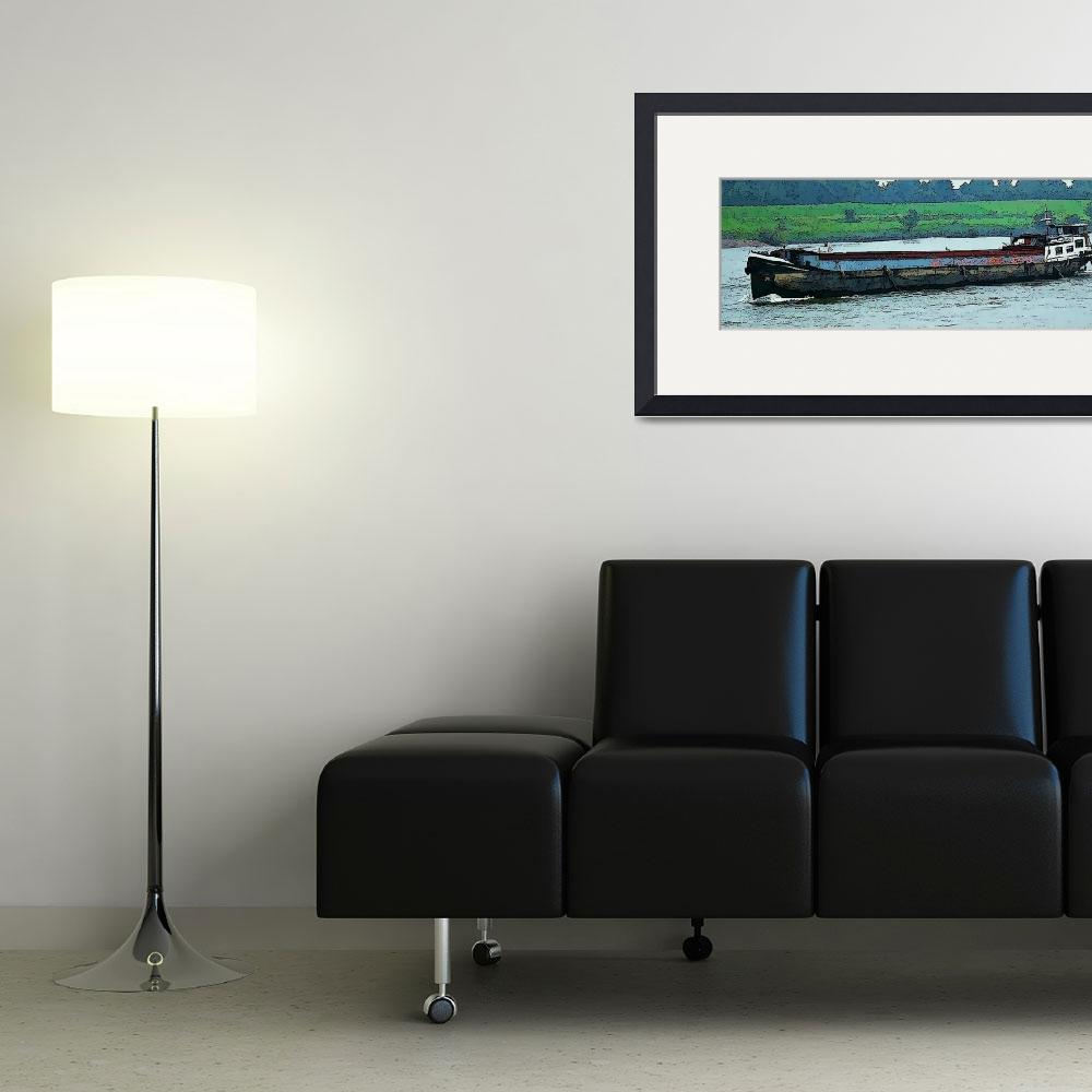"""""""Barge on the Rhine8&quot  (2009) by billbarber"""