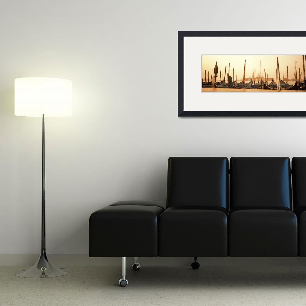 """""""Gondolas moored at a harbor&quot  by Panoramic_Images"""