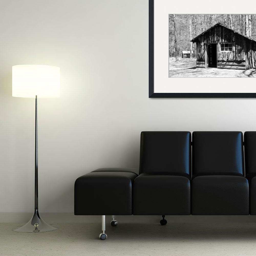 """""""Log Cabin bw&quot  by DonnaCorless"""
