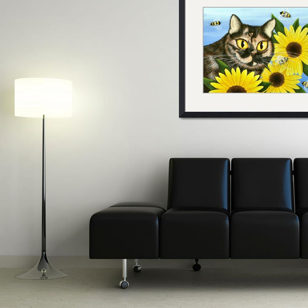 """""""Hannah - Tortoiseshell Cat Sunflowers Bees&quot  (2005) by tigerpixie"""
