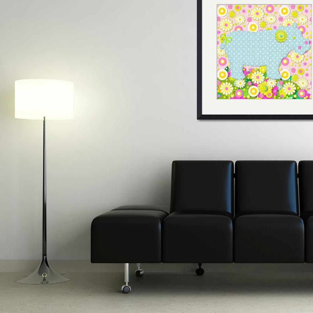 """""""Hippo Flowers&quot  (2009) by MargaretLeVanDesigns"""