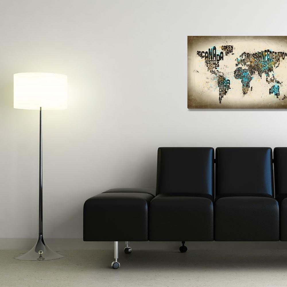 """Paint Splashes Text Map of the World&quot  (2014) by ModernArtPrints"