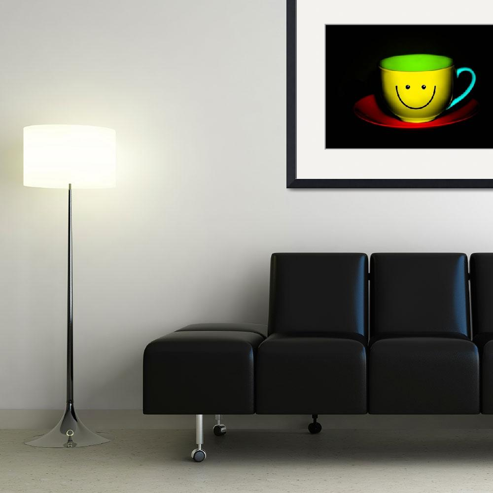 """Funny Wall Art - Smiley Colourful Teacup&quot  by NatalieKinnear"