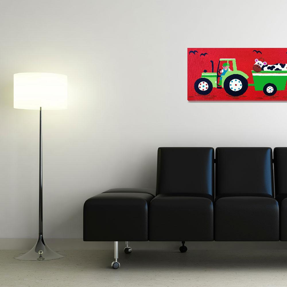"""Green Tractor on Red""  (2012) by CharlotteBurr"