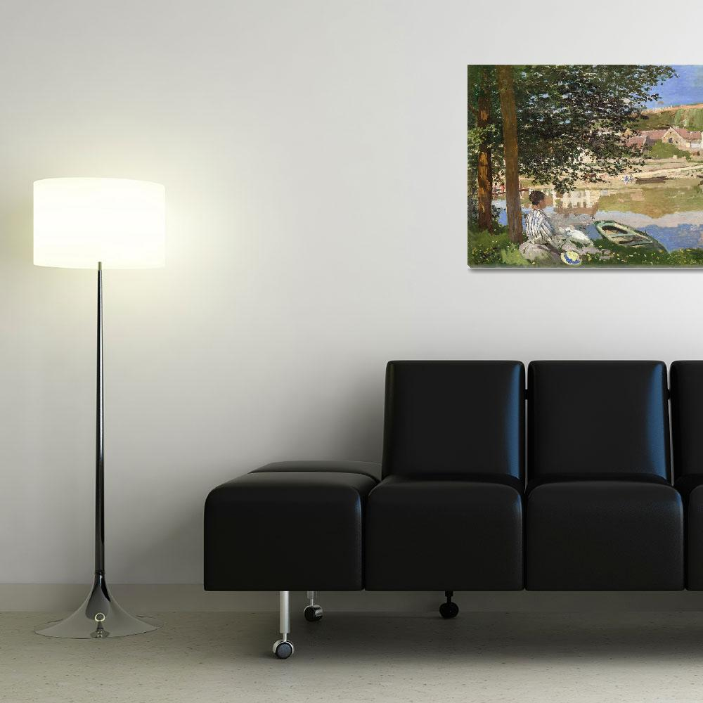 """""""On the Bank of the Seine by Claude Monet""""  by FineArtClassics"""