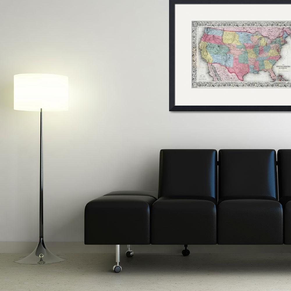 """Vintage United States Map (1853)&quot  by Alleycatshirts"
