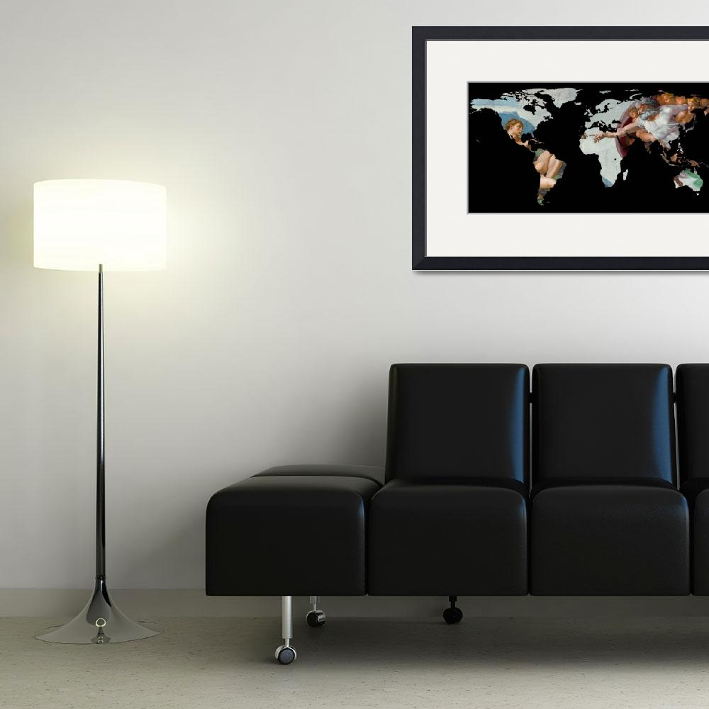 """""""World Map Silhouette - The Creation of Adam&quot  by Alleycatshirts"""