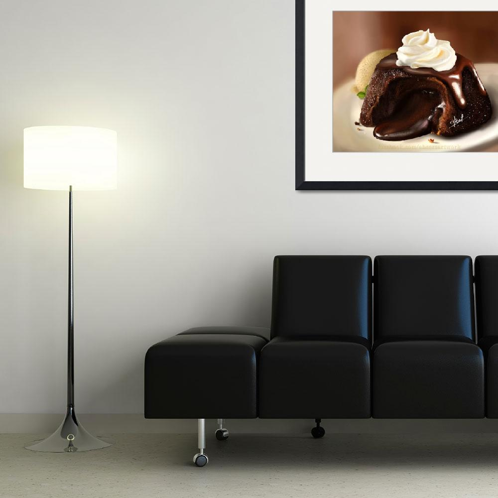 """Chocolate-lava-cake-digital-painting-by-abeer-mali""  by AbeersArtWork"