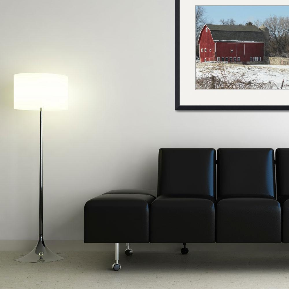"""""""Traditional barn with fieldstone wall&quot  (2012) by Anewsgal"""