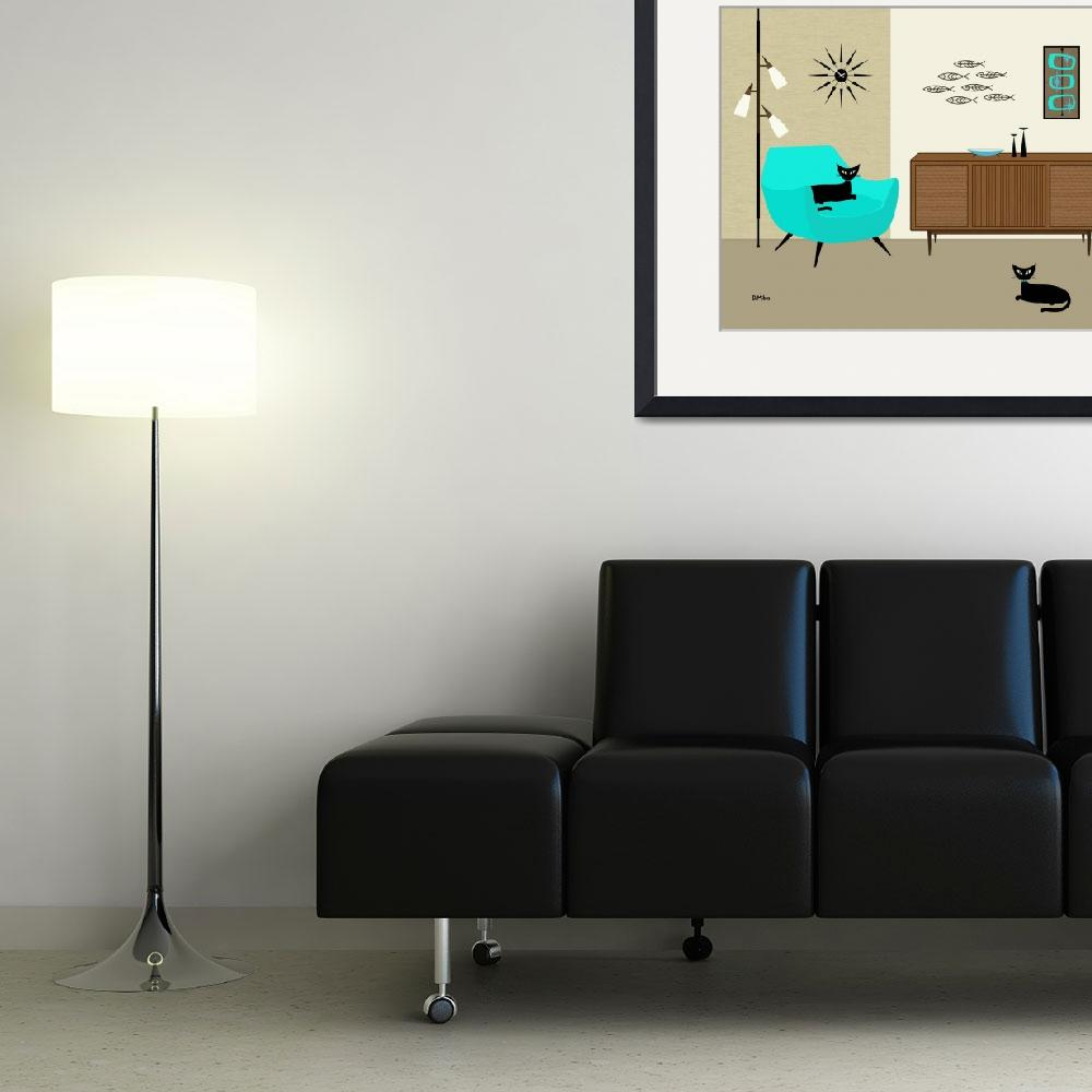 """Fish Wall Art with Aqua Chair&quot  (2014) by DMibus"