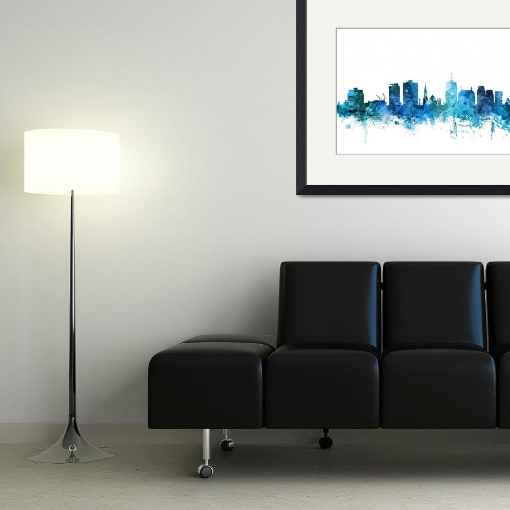 """Christchurch New Zealand Skyline&quot  (2018) by ModernArtPrints"