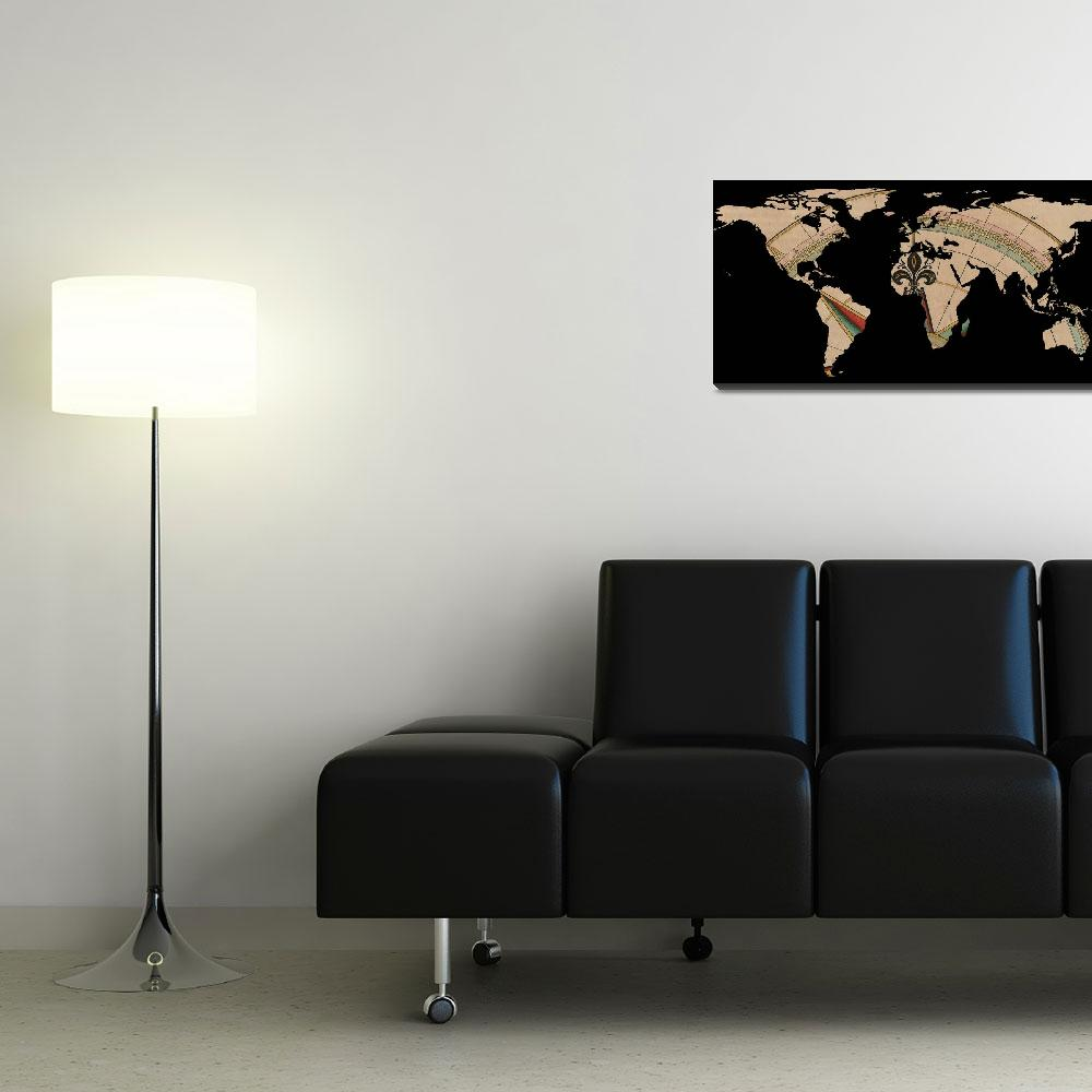 """""""World Map Silhouette - Compass Rose""""  by Alleycatshirts"""