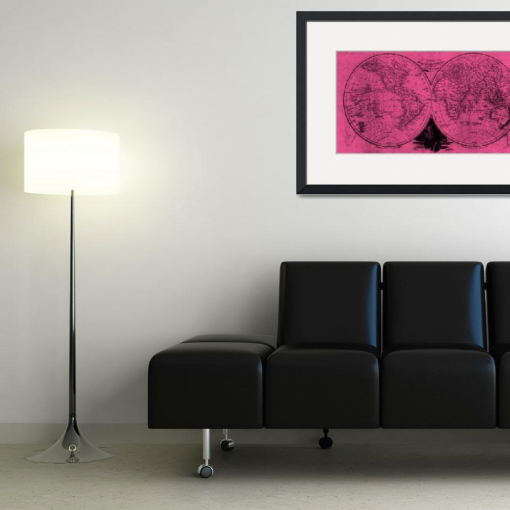 """""""World (1811) Pink & Black&quot  by Alleycatshirts"""