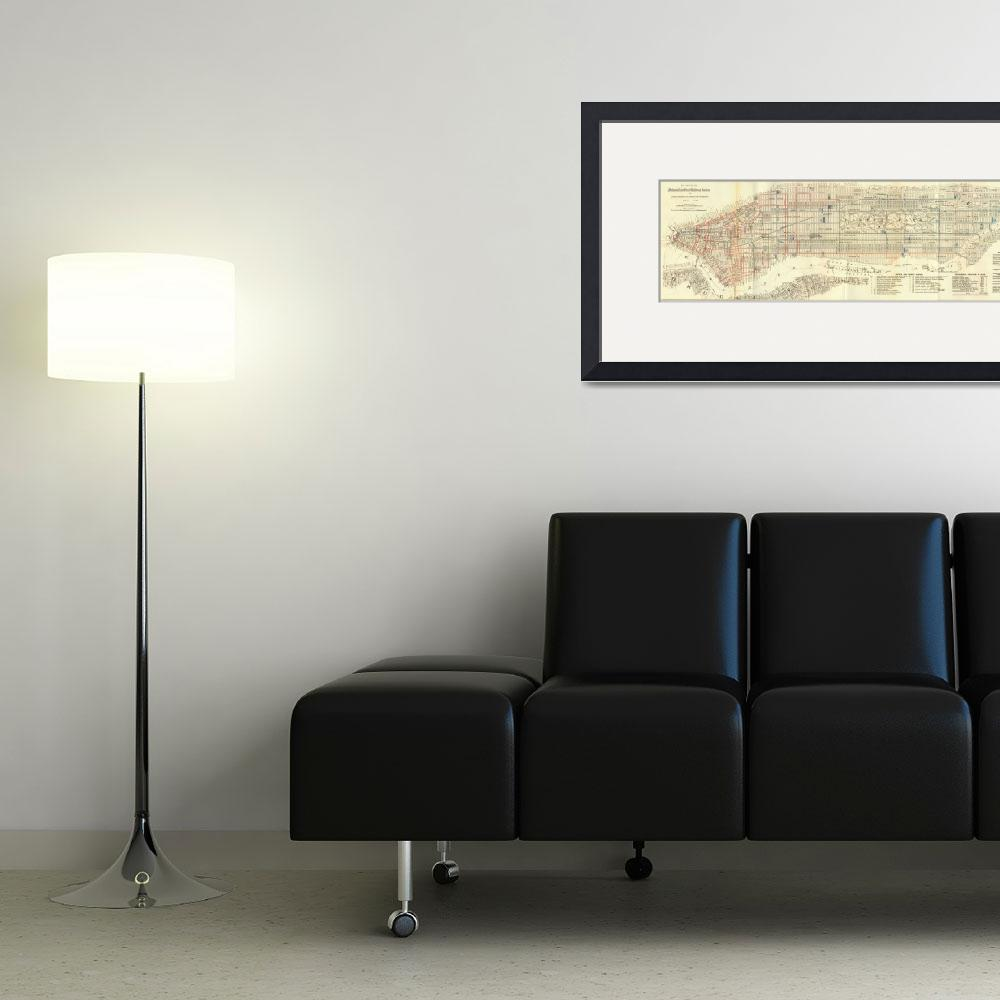 """""""Vintage Map of The NYC Railways (1899)&quot  by Alleycatshirts"""
